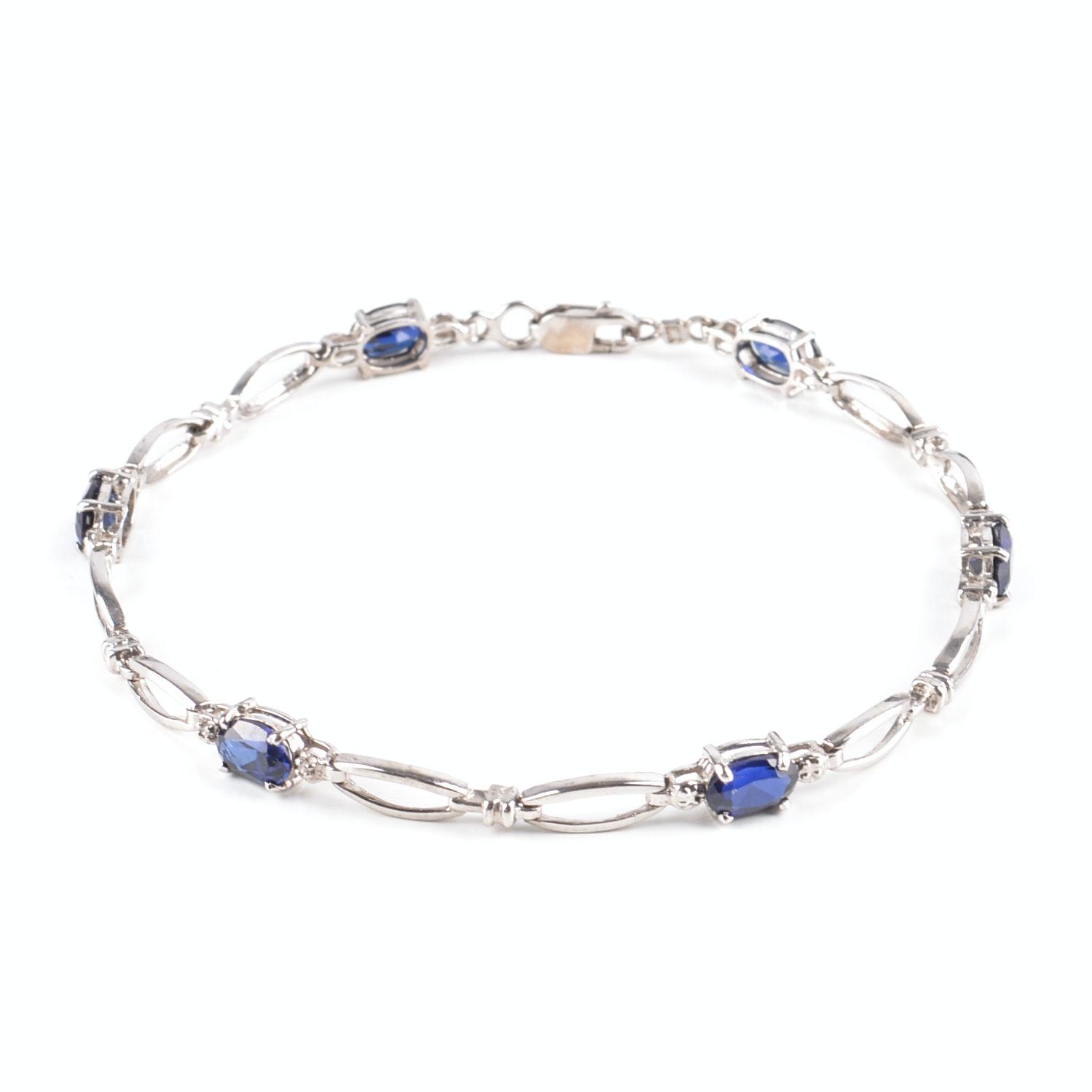 10K White Gold Synthetic Sapphire and Diamond Bracelet