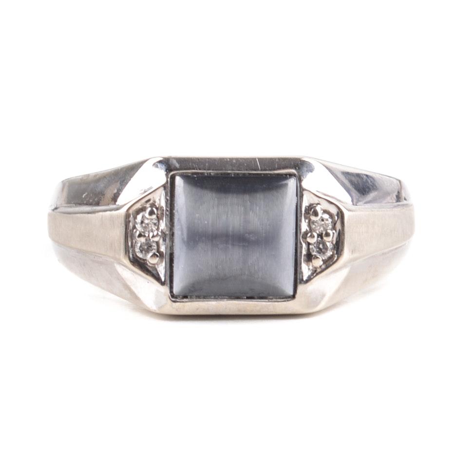 10K White Gold Glass Cat's Eye and Diamond Ring