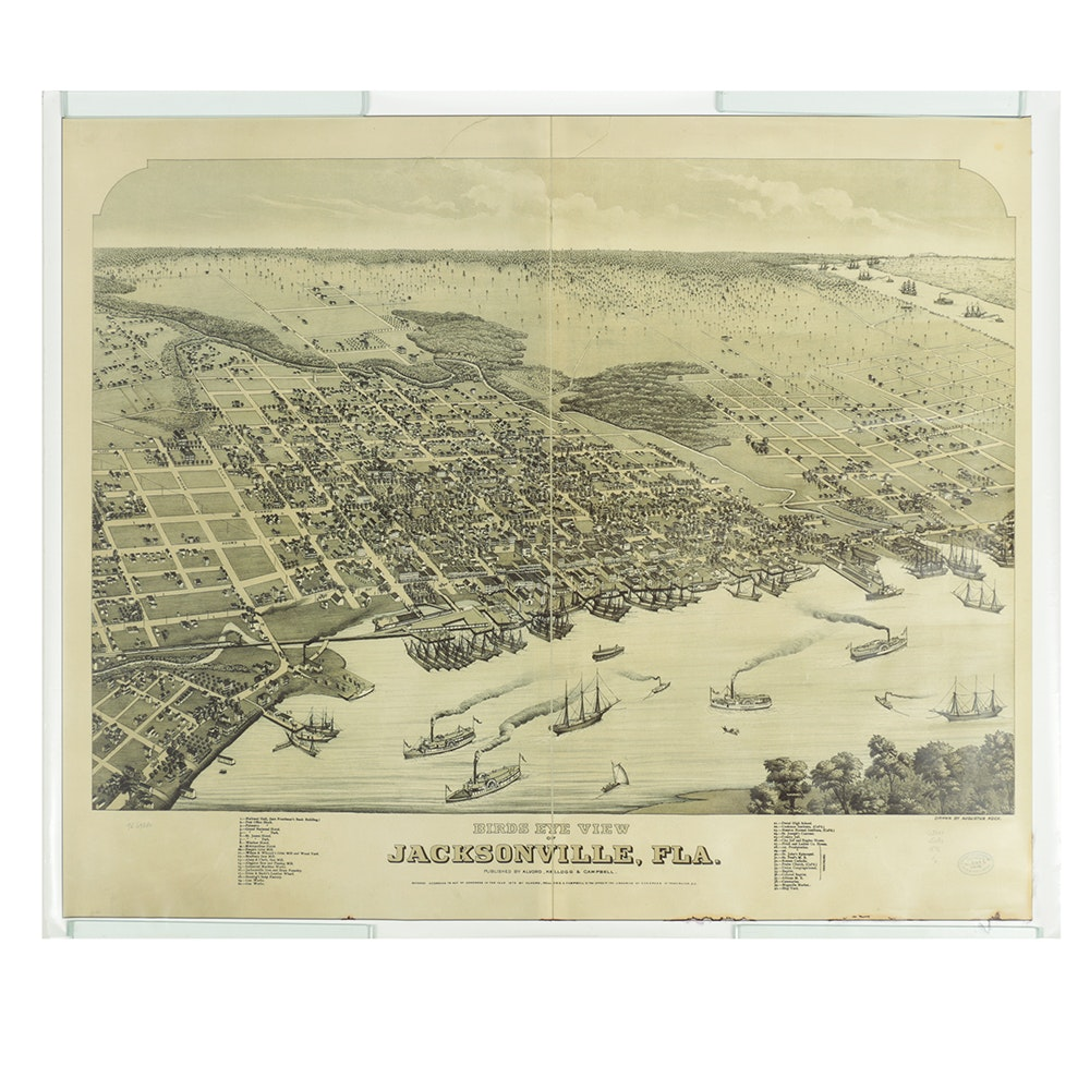 Vintage Giclee On Paper Map of Jacksonville, Florida Circa 1875
