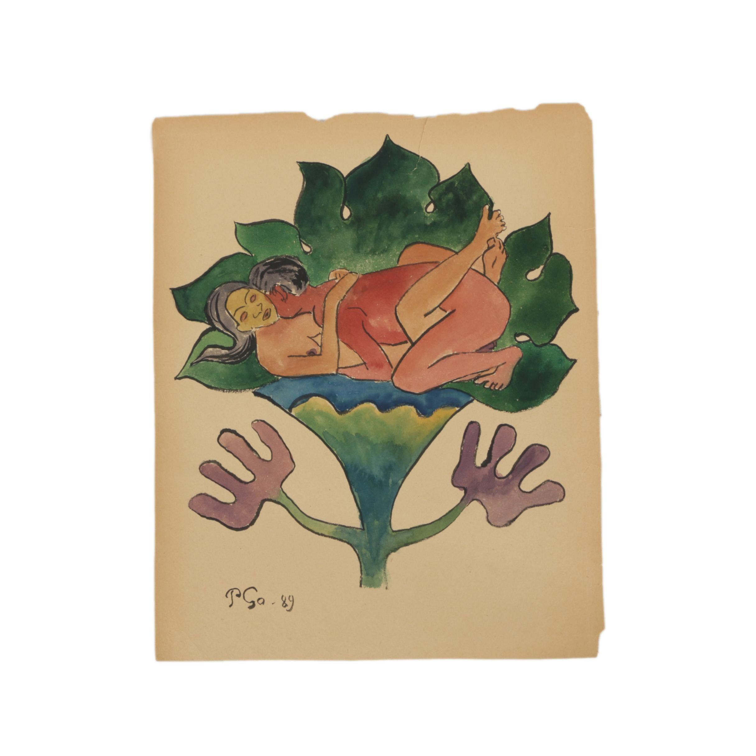 "Gouache Painting After Paul Gauguin's ""Te Faruru"""