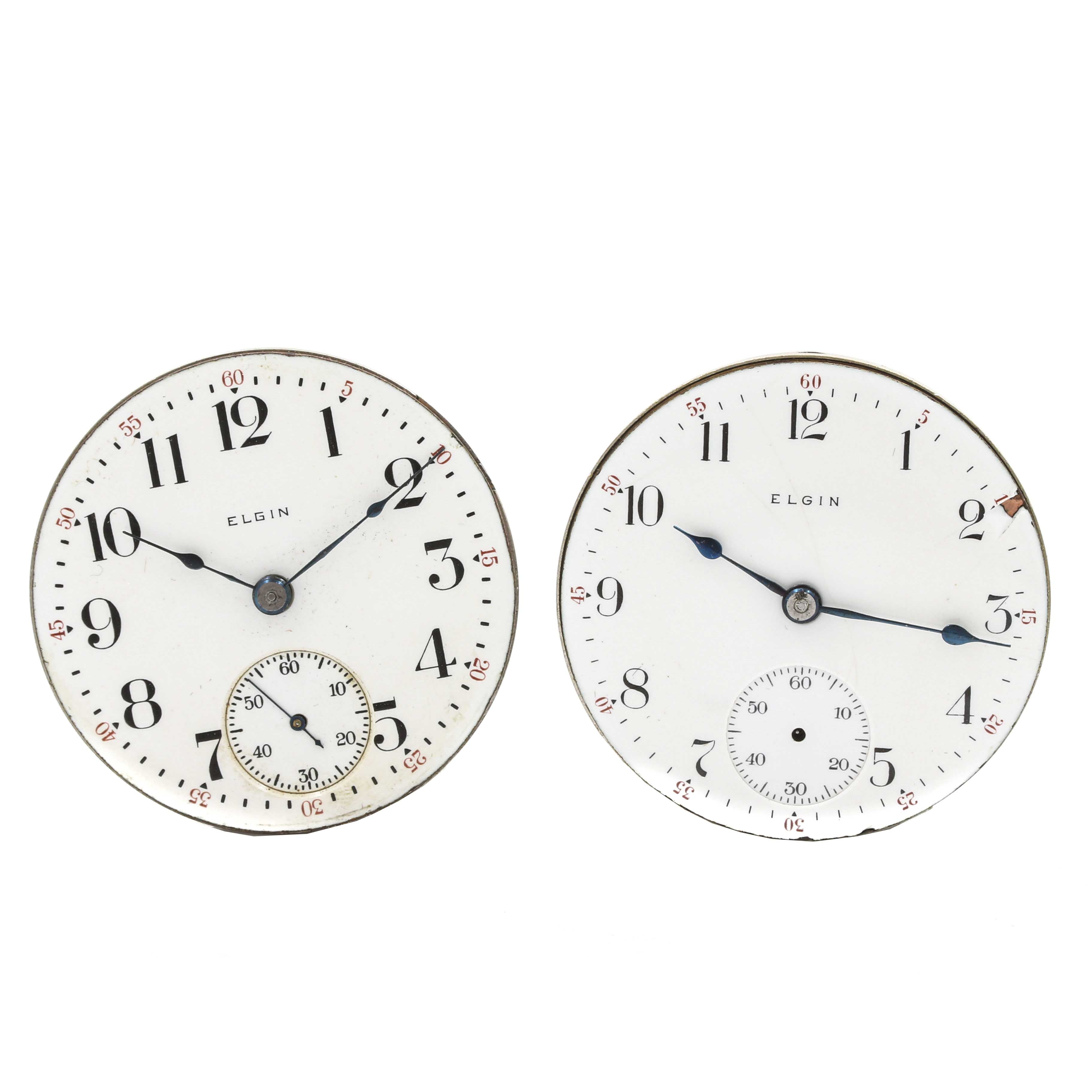 Antique Elgin Pocket Watch Movements With Dials and Hands