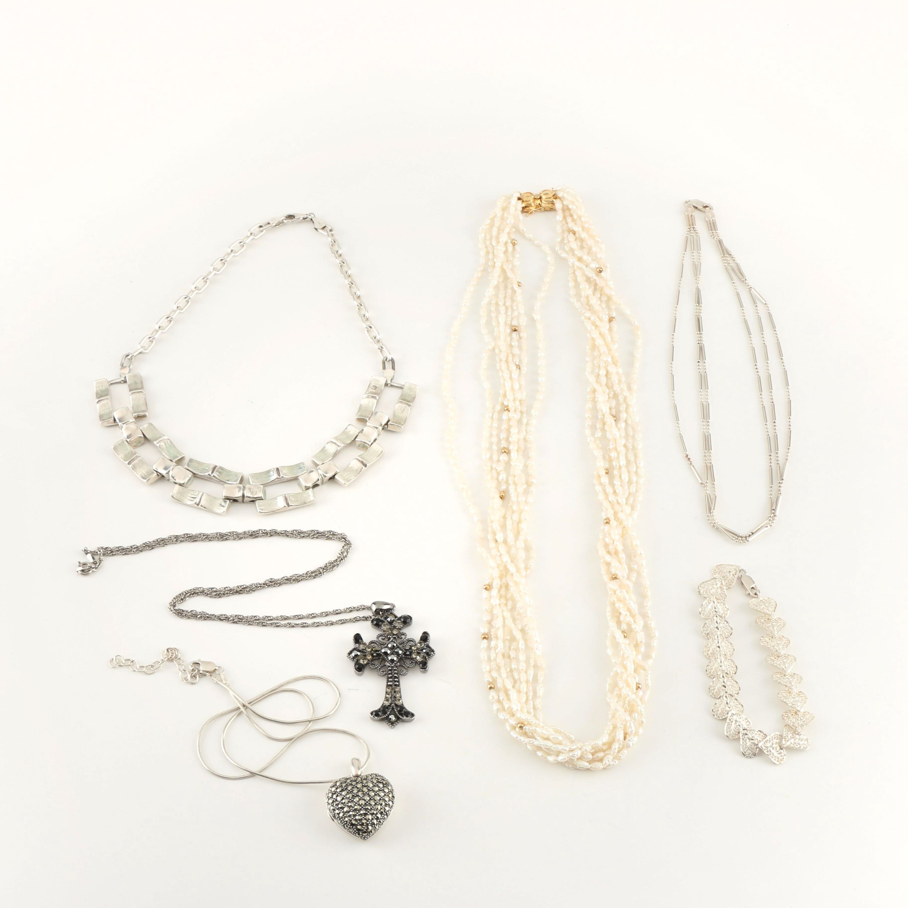 Assortment of Sterling Silver Jewelry and Cultured Freshwater Pearl Necklace