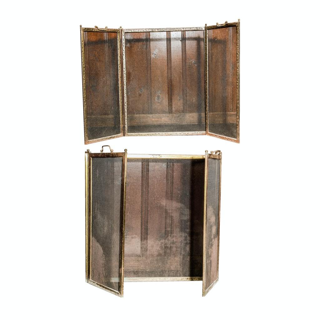 Pair of Vintage Rustic Metal Fireplace Screens