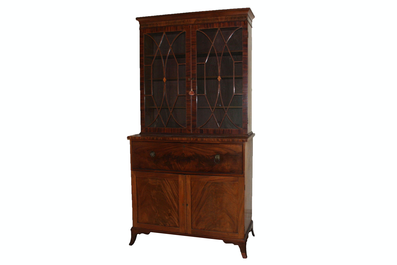 19th Century Hepplewhite Mahogany Secretary Desk/ Bookcase