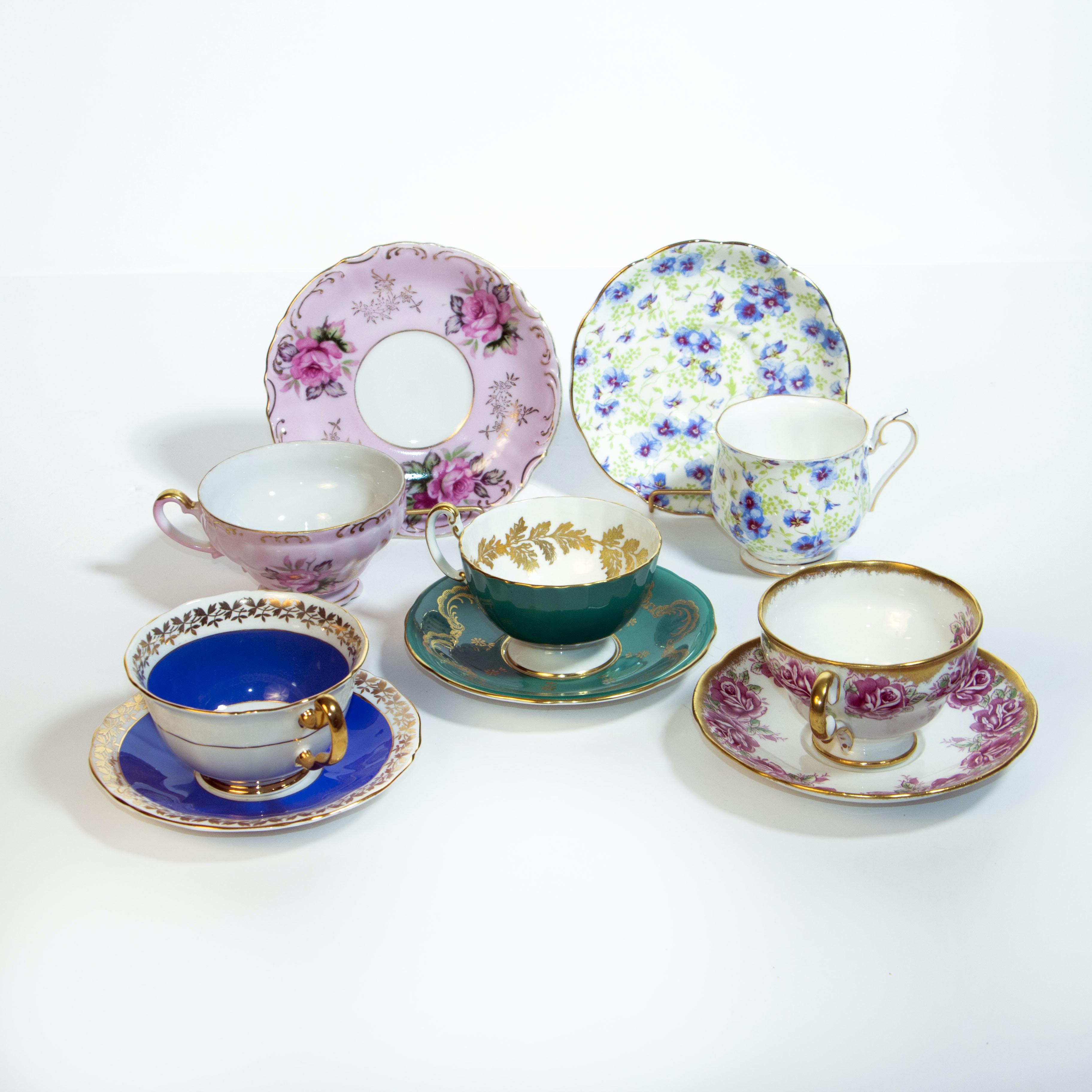 Porcelain Teacups and Saucers Including Adderley