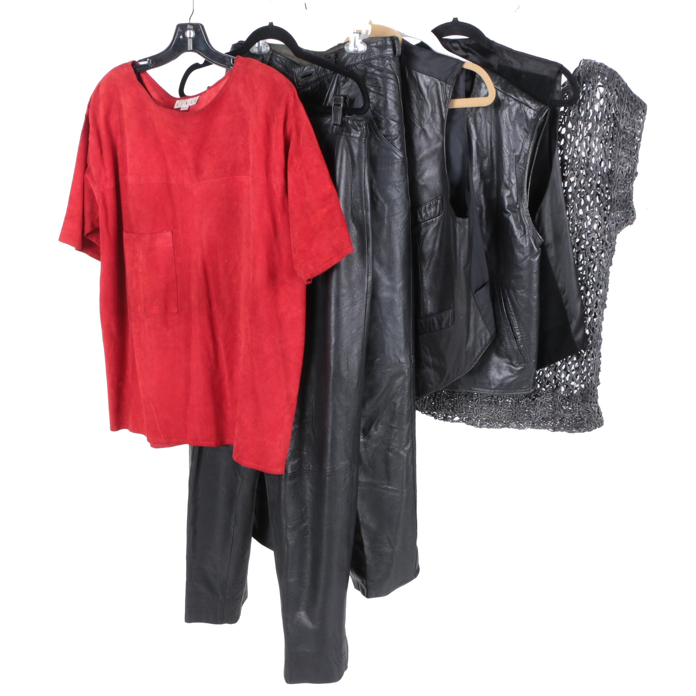 Women's Leather Clothing Assortment Including Lord & Taylor