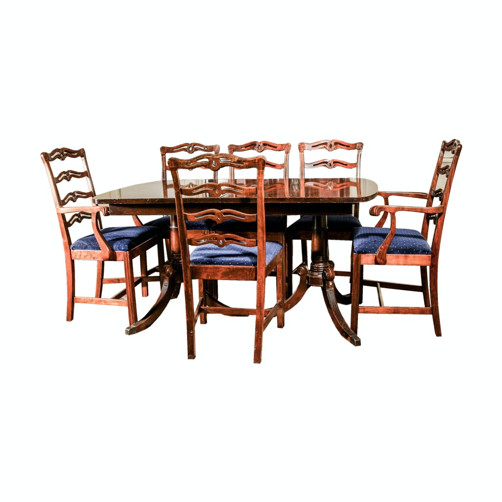Double Pedestal Dining Table and Six Chairs