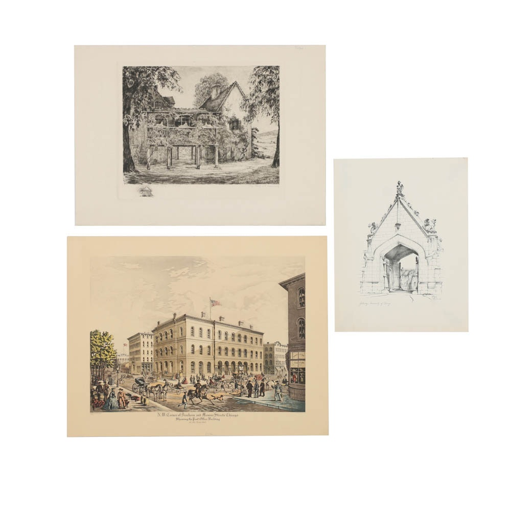 Collection of Intaglio Prints on Paper of Architecture