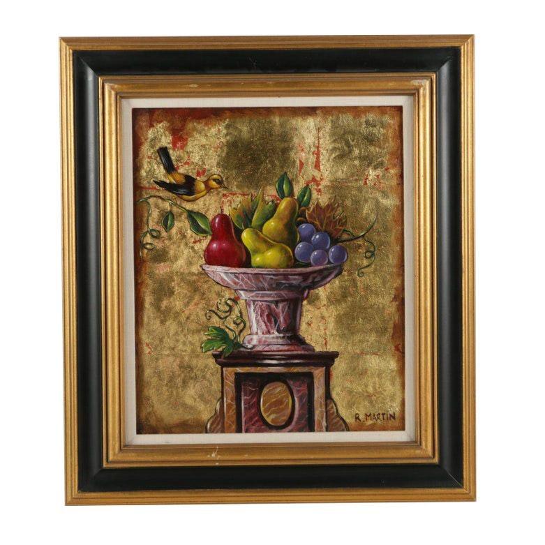 """R. Martin Oil on Canvas """"Frutero y Pajaro"""""""