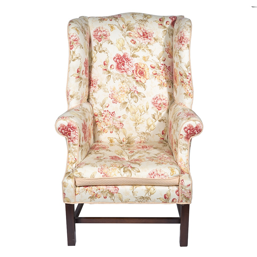 Chippendale Style Floral Wingback Chair