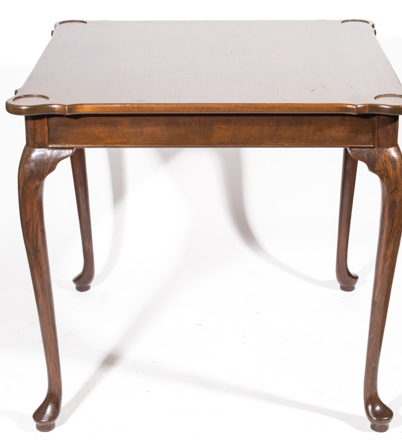 Cherry Queen Anne Style Game Table by Hickory Chair Company