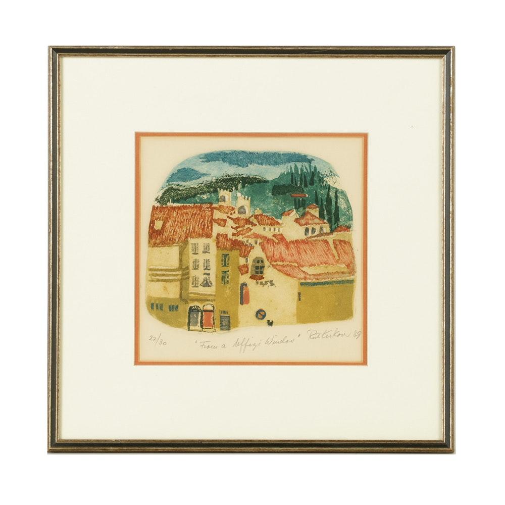 "Ruth Kerkovius Etching with Aquatint ""From a Uffizi Window"""