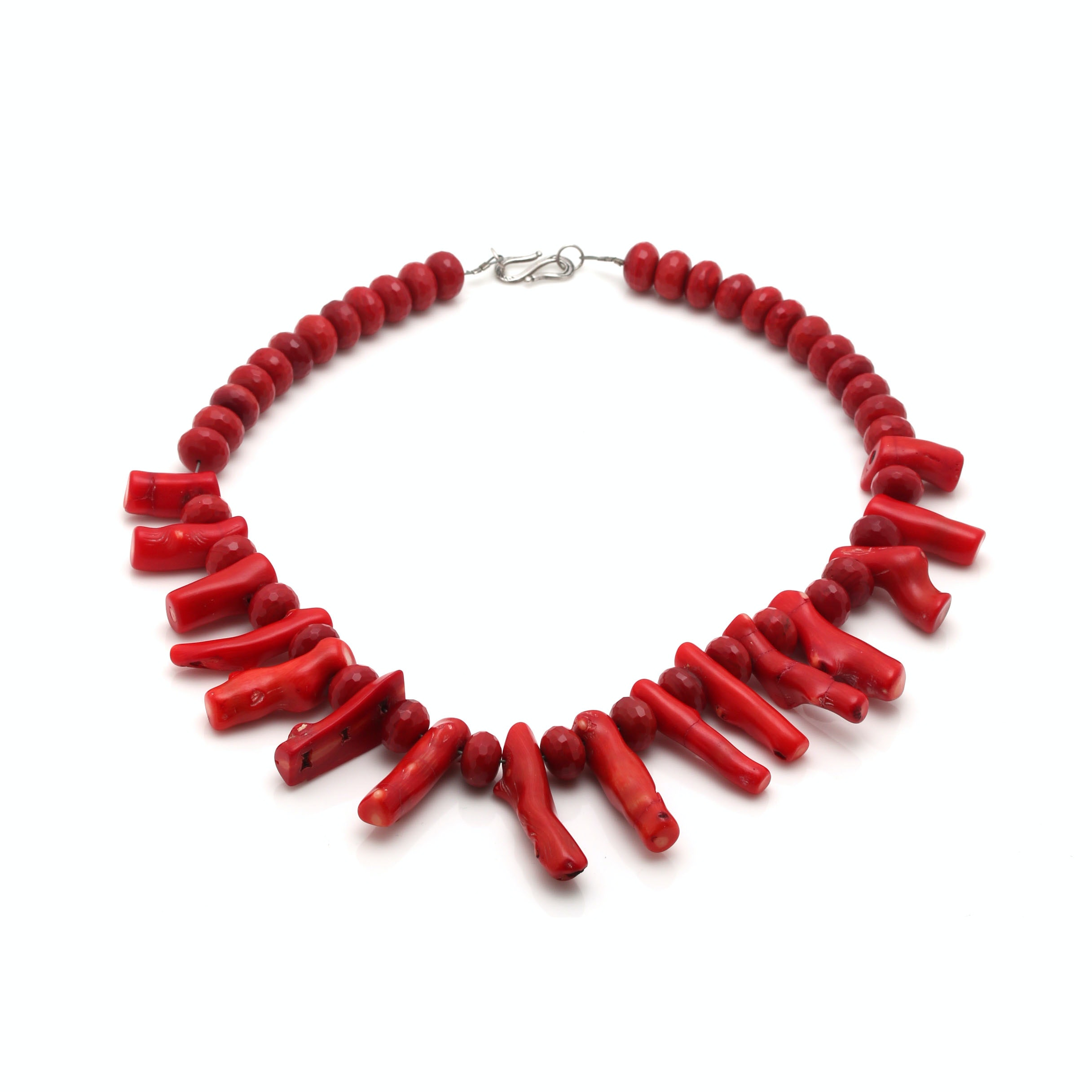Coral and Glass Beaded Necklace With Sterling Silver Clasp