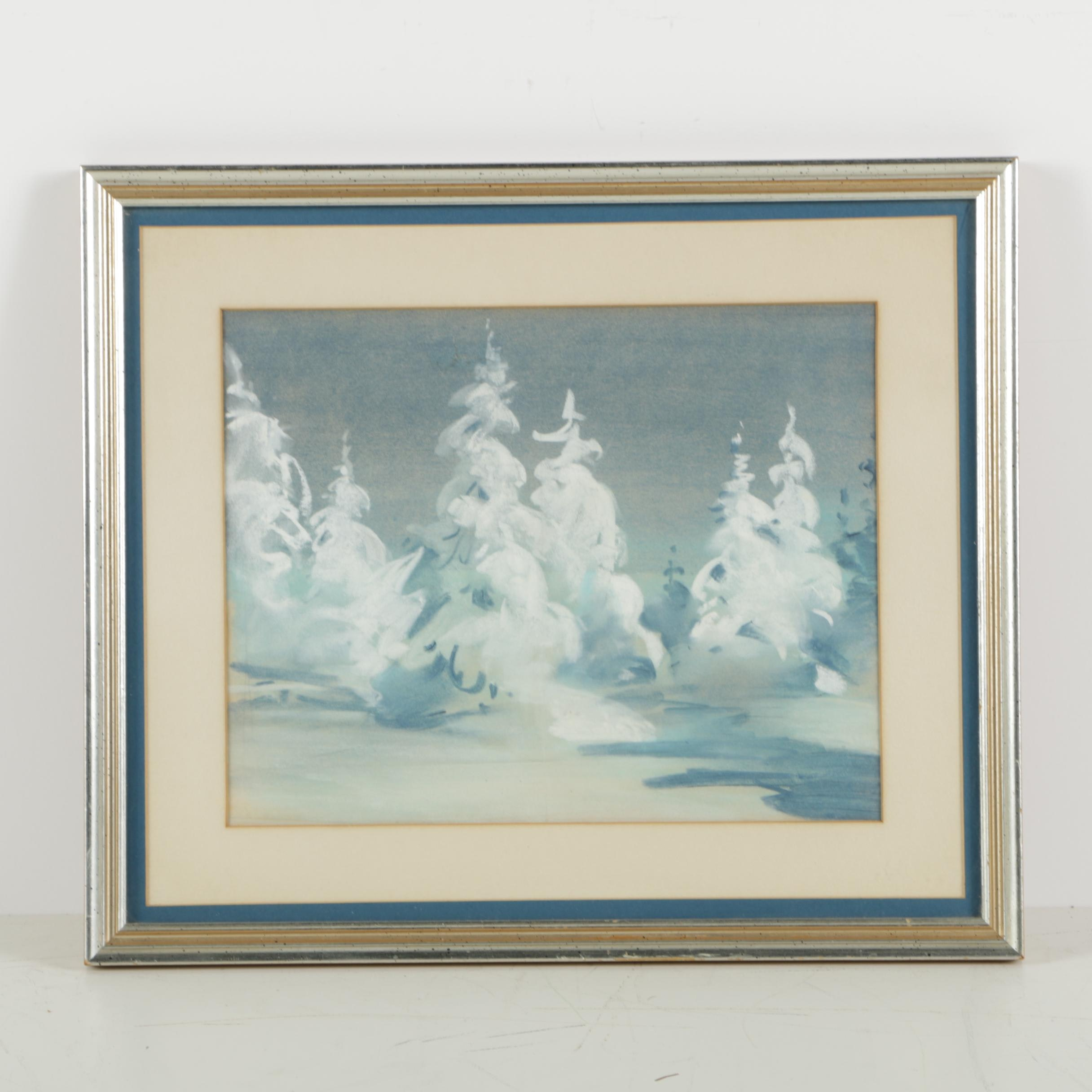 Howard Connolly Pastel Drawing of a Winter Scene