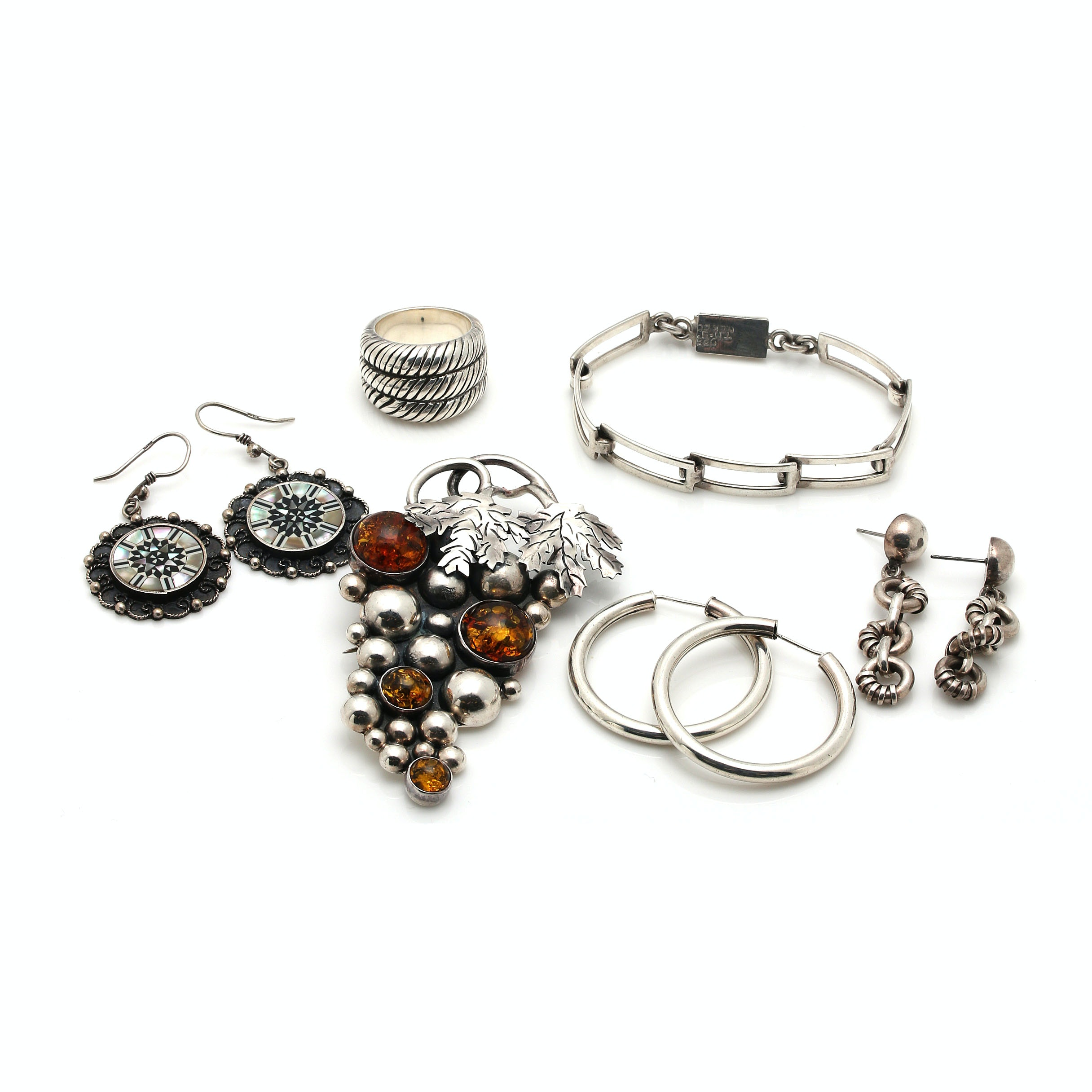 Assortment of Sterling Silver Jewelry Including Amber and Mother of Pearl