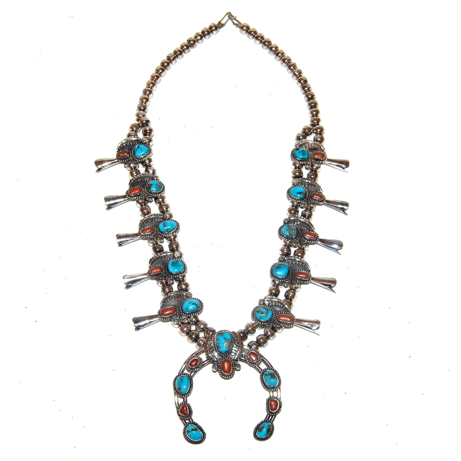 Sterling Turquoise and Coral Squash Blossom Necklace