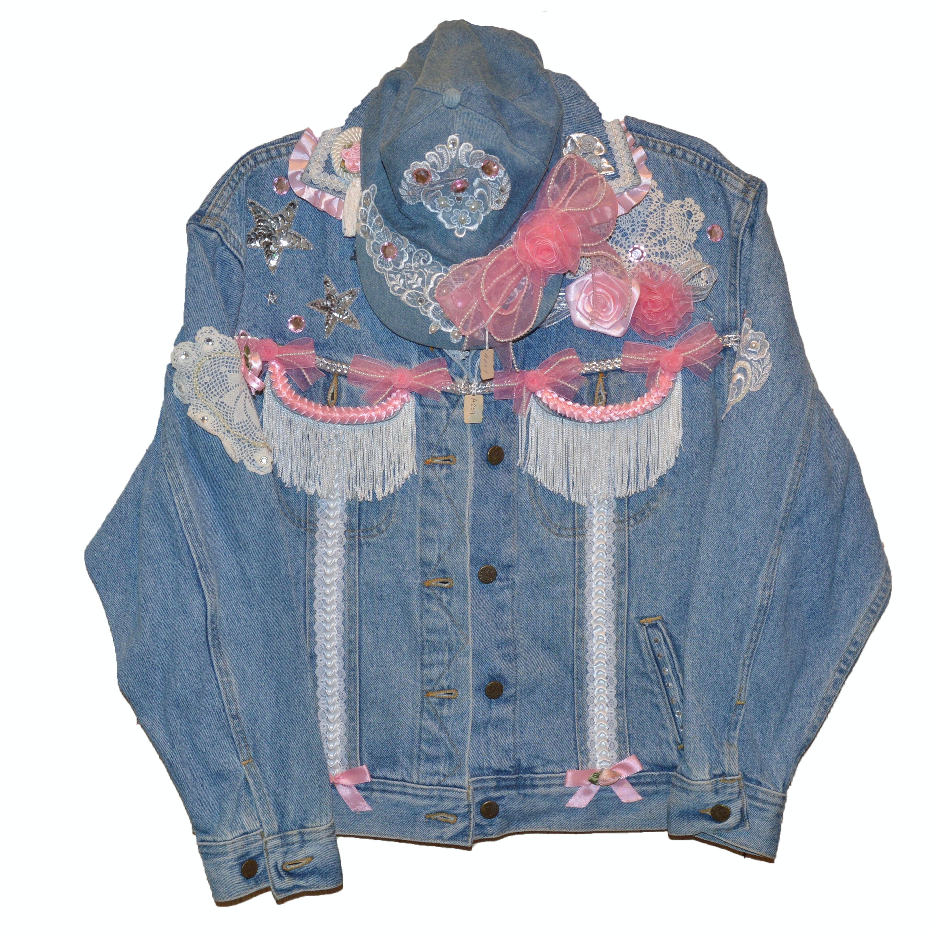 Vintage Denim Jacket and Cap with Hand-Sewn Details