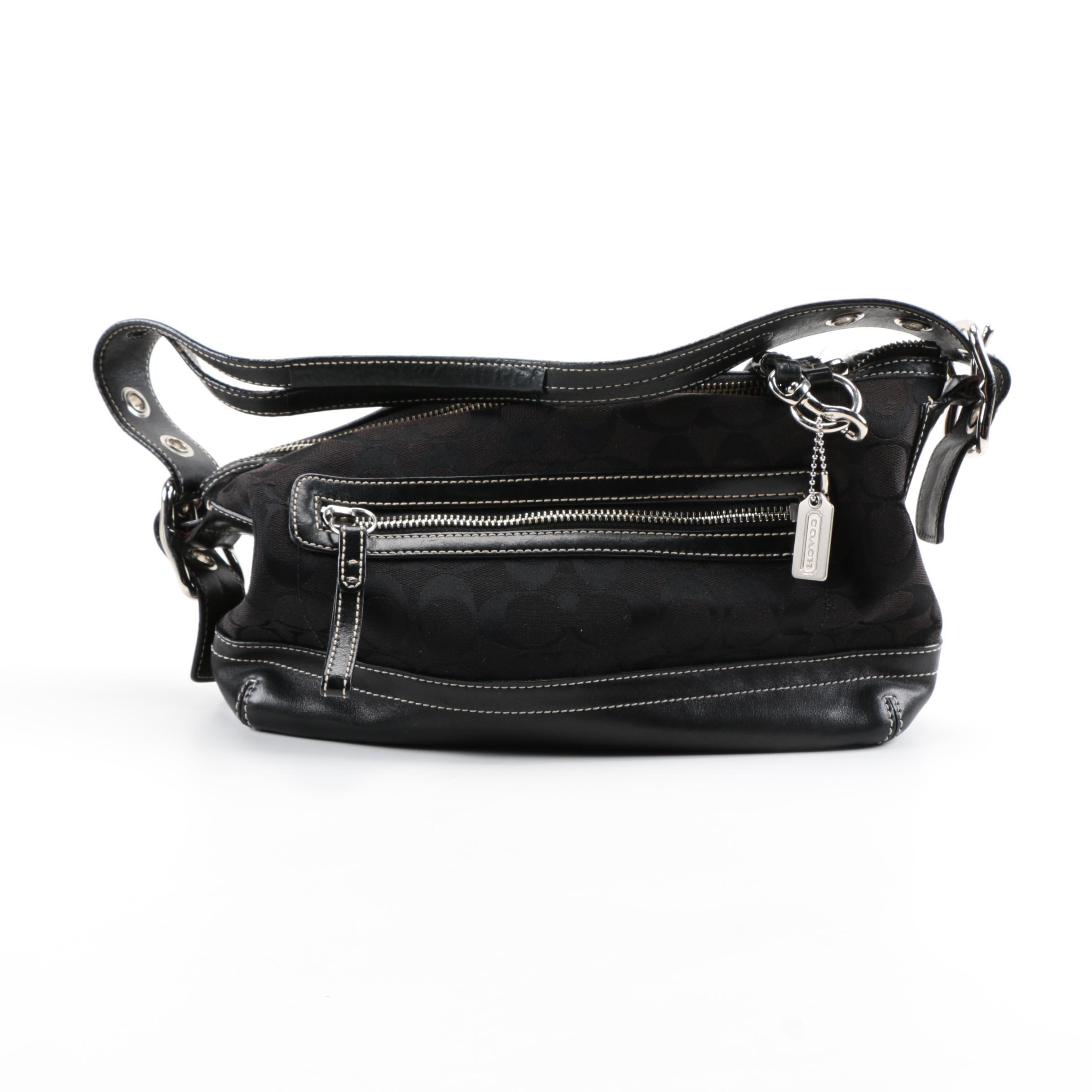 Coach Black Canvas and Leather Shoulder Bag