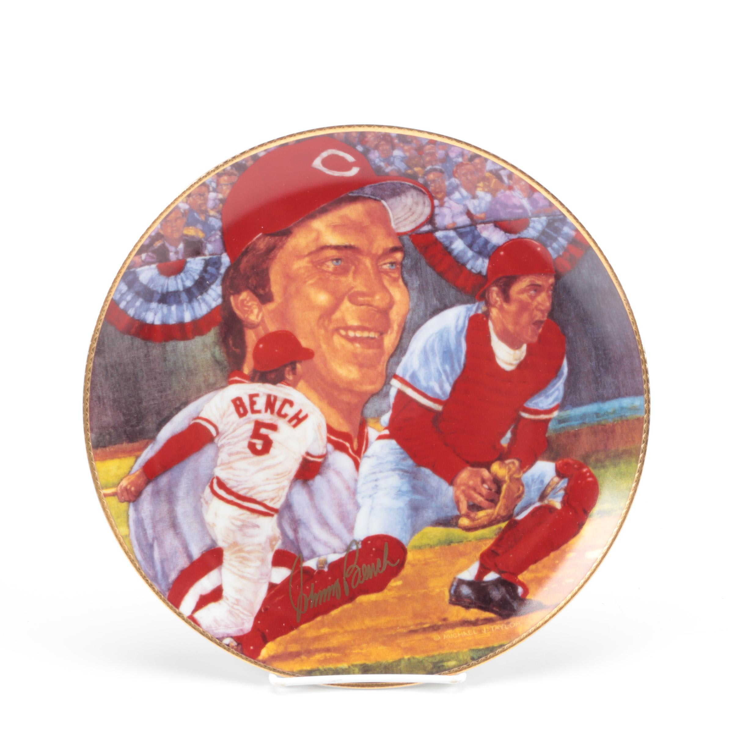 Johnny Bench Autographed Plate
