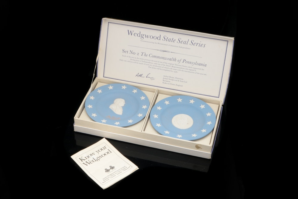 Wedgwood State Seal Series Commemorative Plate Set Featuring Pennsylvania