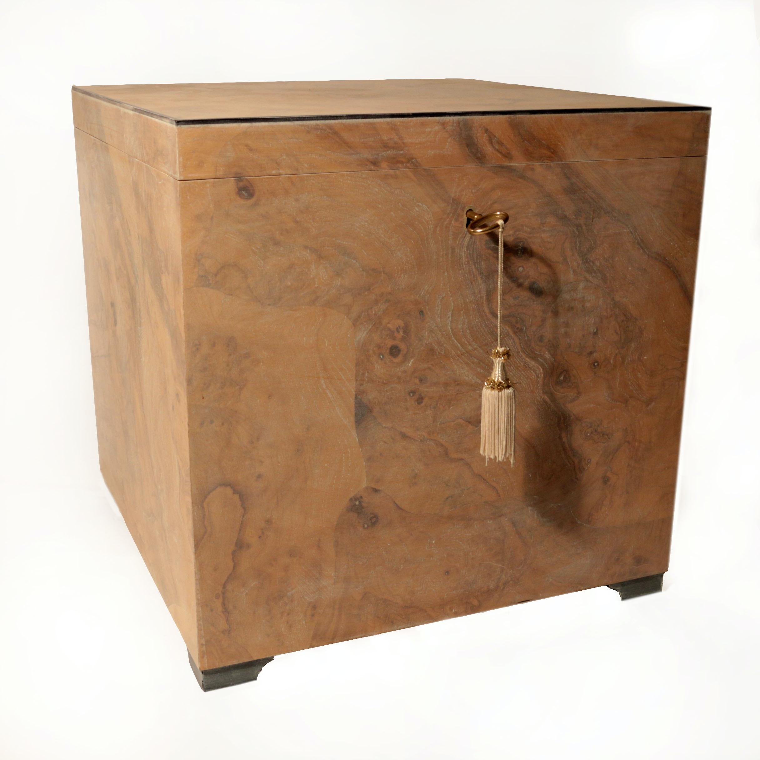 Olive Ash Burl Lidded Box with Key