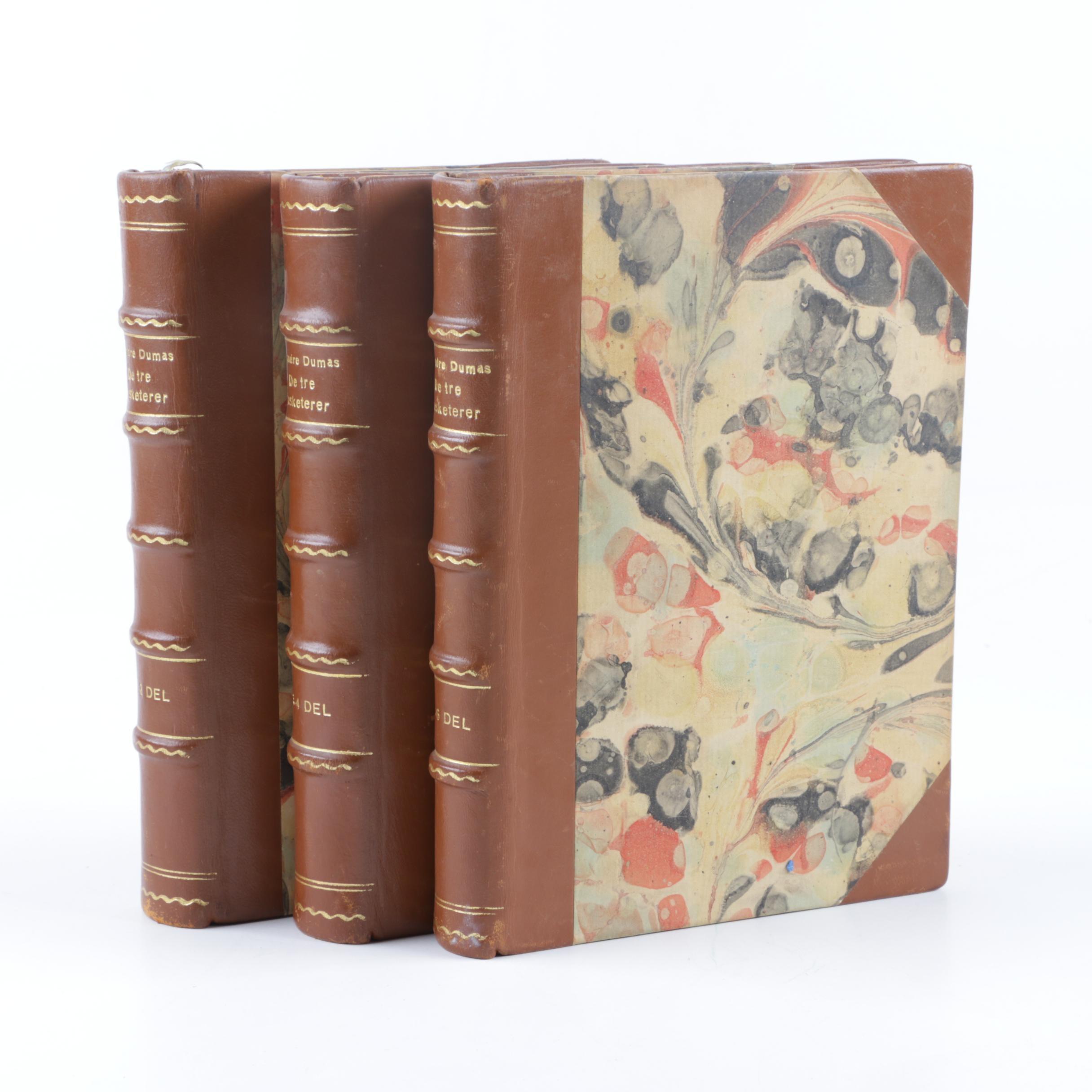 "Three-Volume Danish-Language ""De Tre Musketerer"" by Alexandre Dumas"