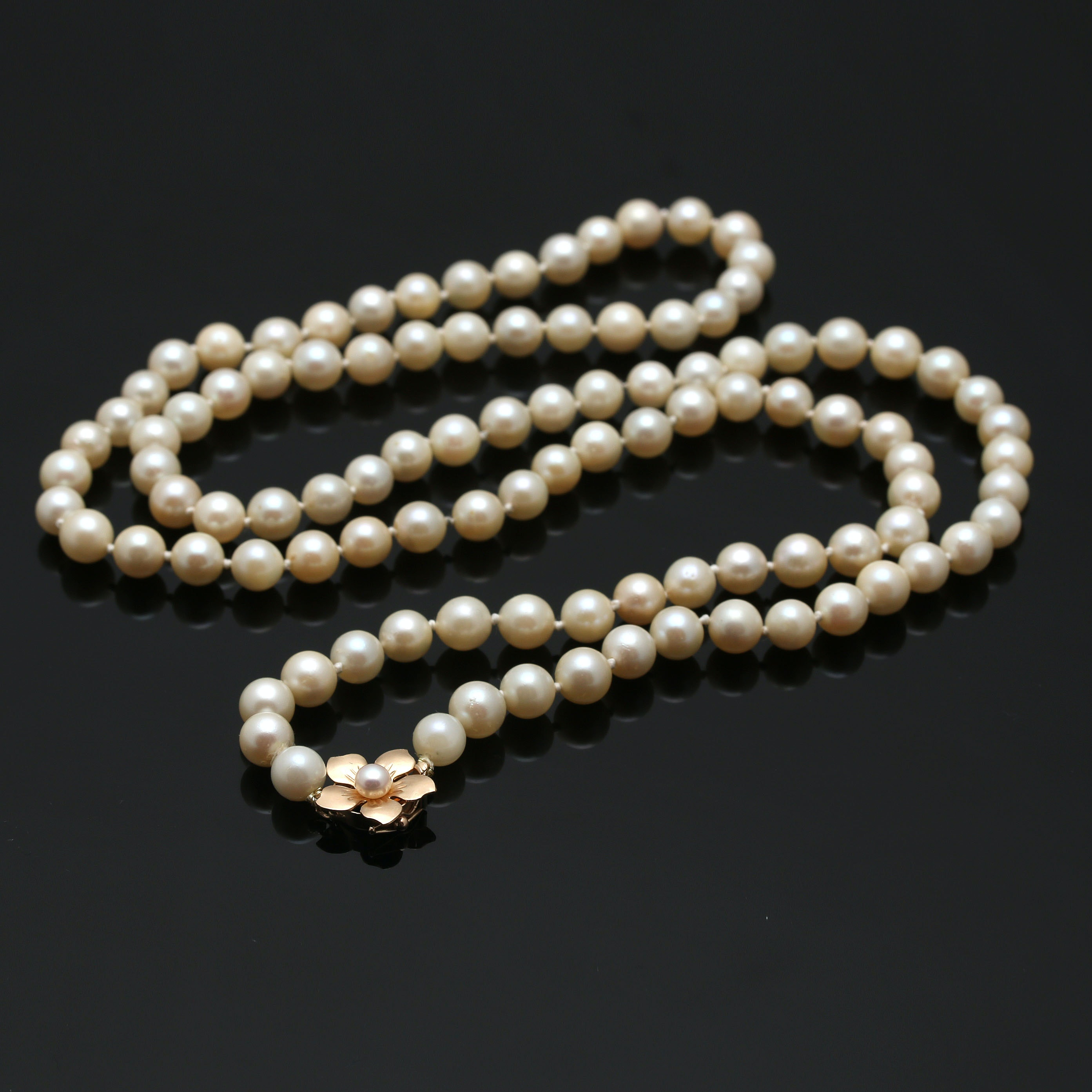Knotted Cultured Pearl Necklace with 14K Yellow Gold Closure