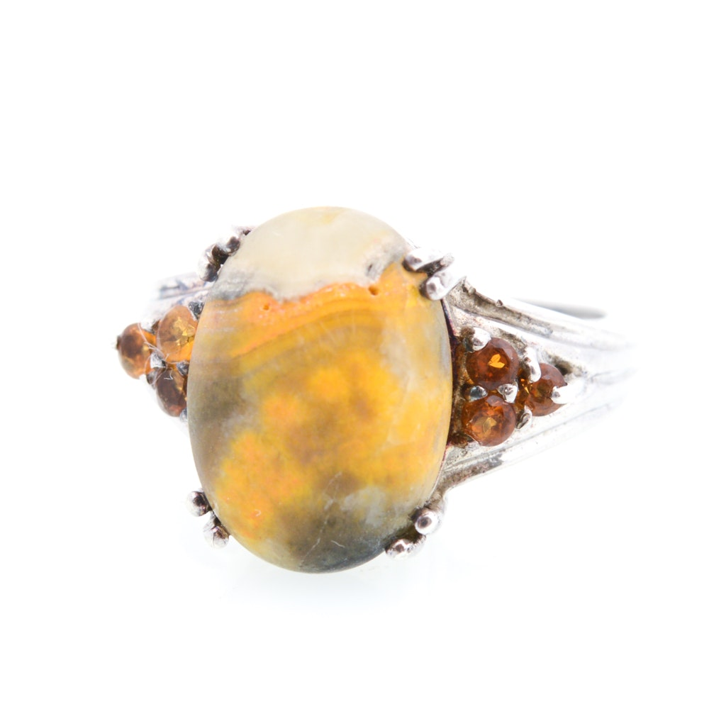 Sterling Silver Stone and Citrine Ring