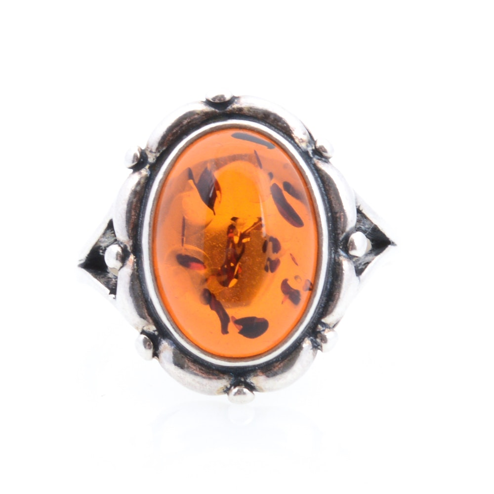 Sterling Silver Imitation Amber Ring
