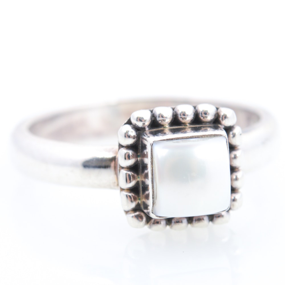 Sterling Silver Imitation Pearl Ring