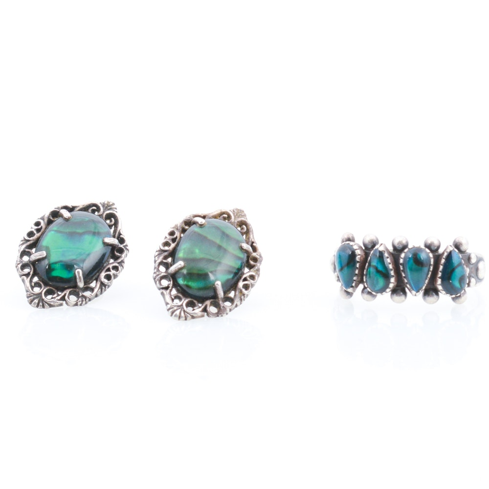 Sterling Silver Imitation Gemstone Ring and Earrings