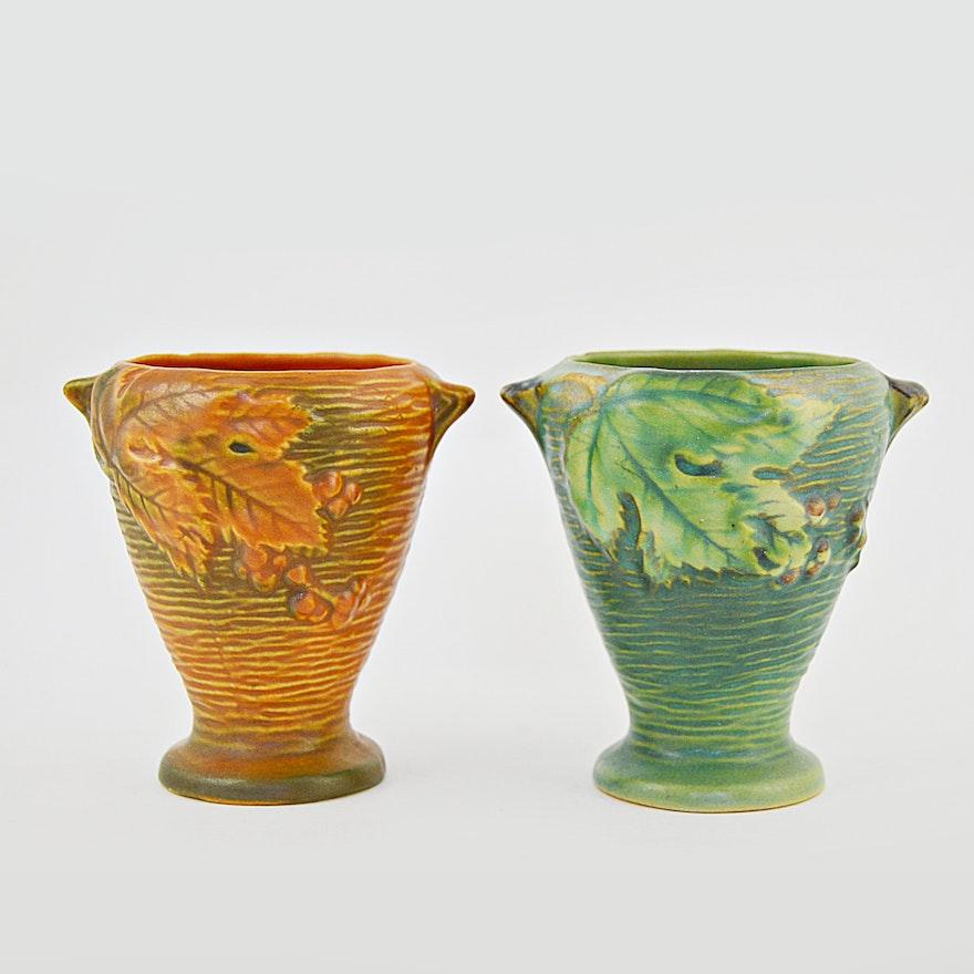 Roseville Pottery Vases In Bushberry Pattern Ebth