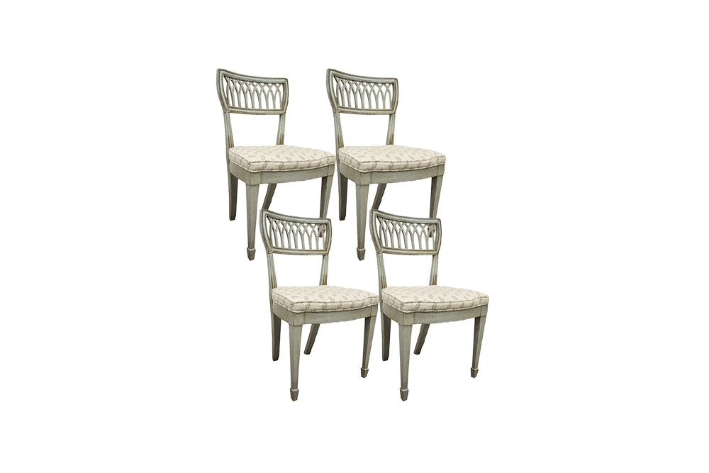 Set of Four Painted Sheraton Style Wood Dining Chairs