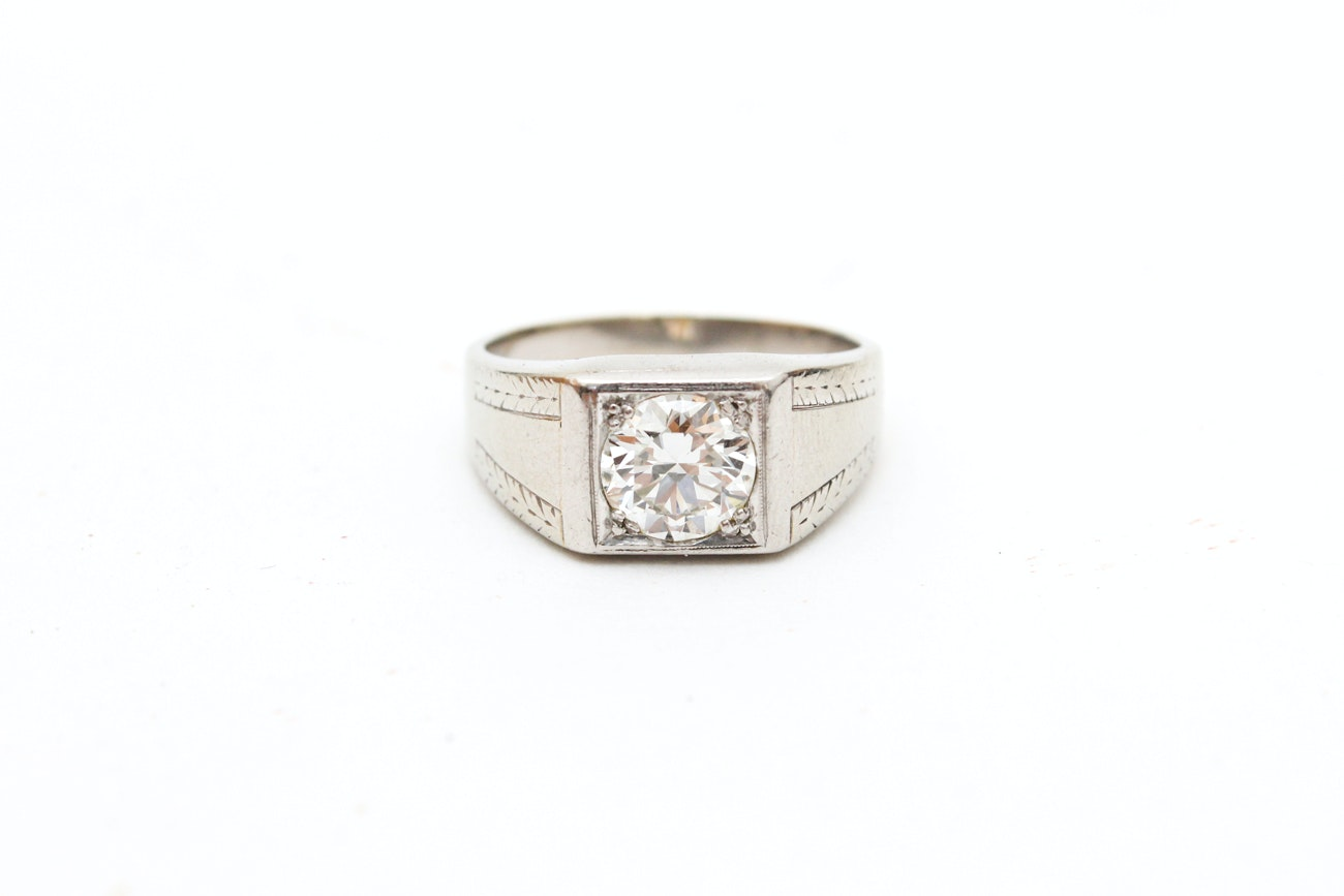 18K White Gold and 1.56 Carat Diamond Solitaire Ring