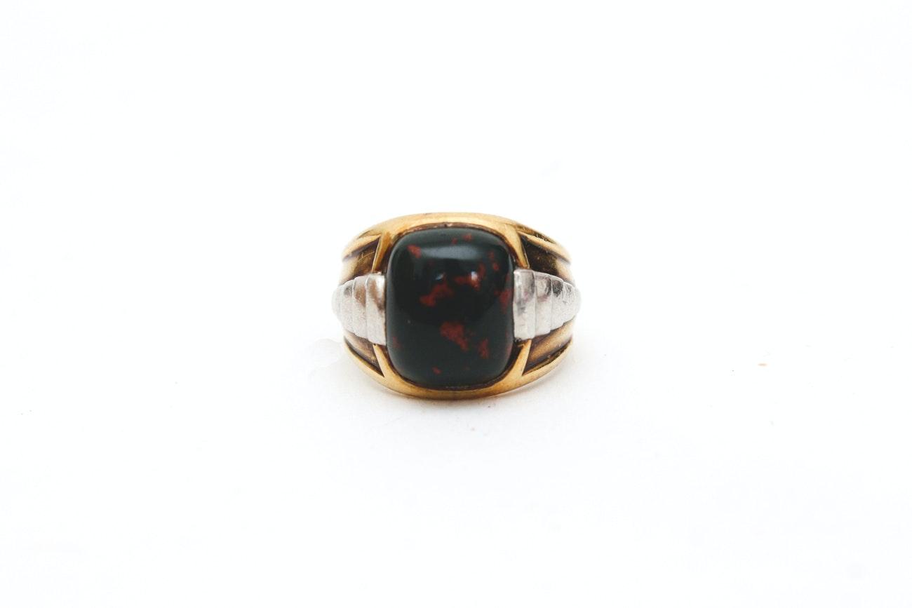 14K Gold Bloodstone Ring
