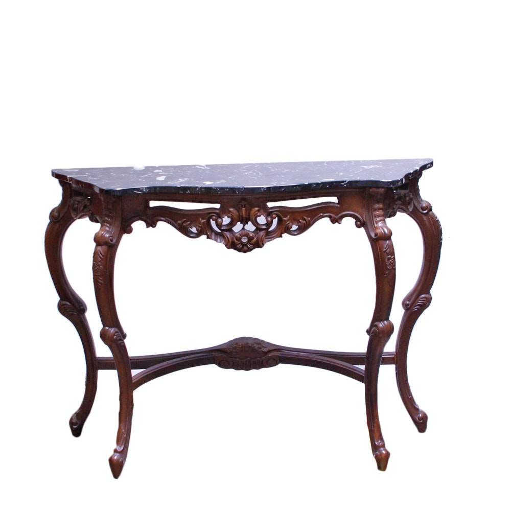 Vintage Carved Rococo Marble Top Console