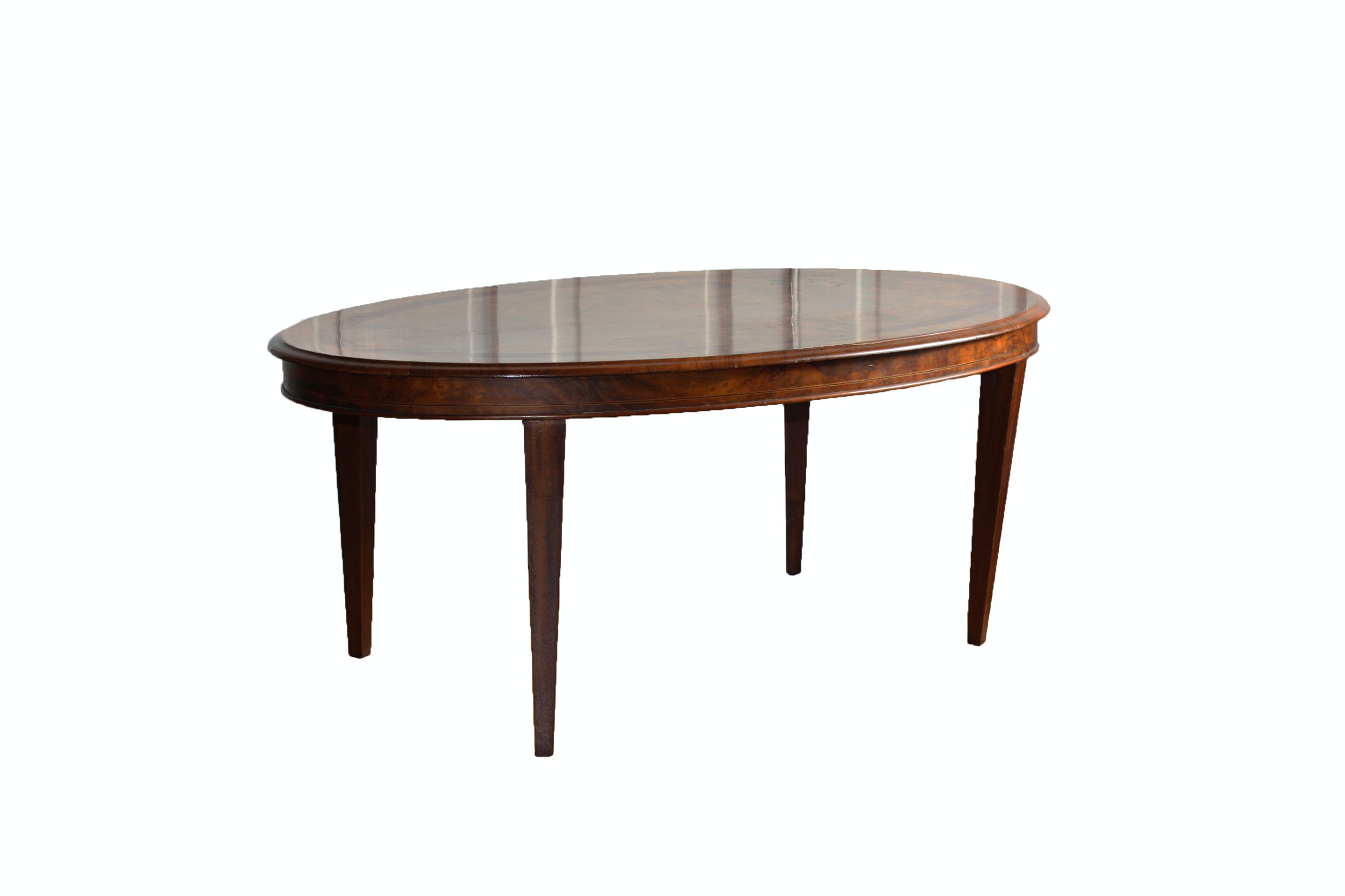 Oval Burl Walnut and Inlaid  Coffee Table