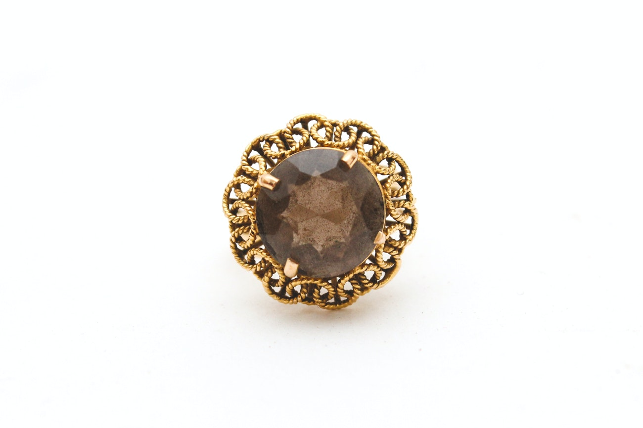 18K Yellow Gold and Smoky Quartz Ring