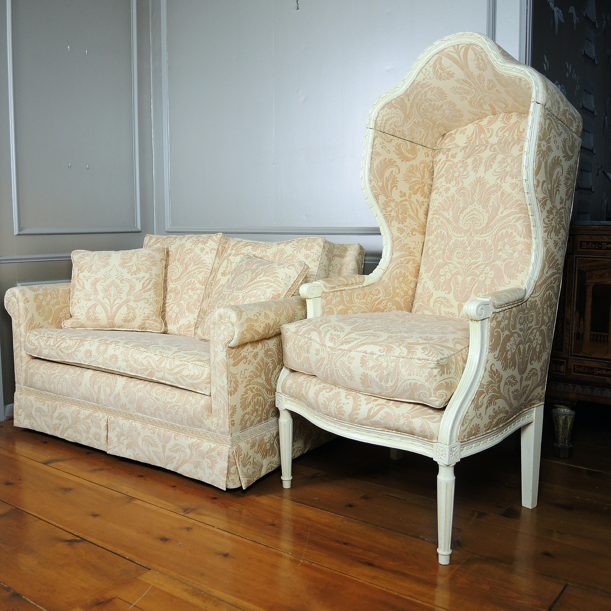 Porters Chair and Loveseat in Batik Pattern Upholstery