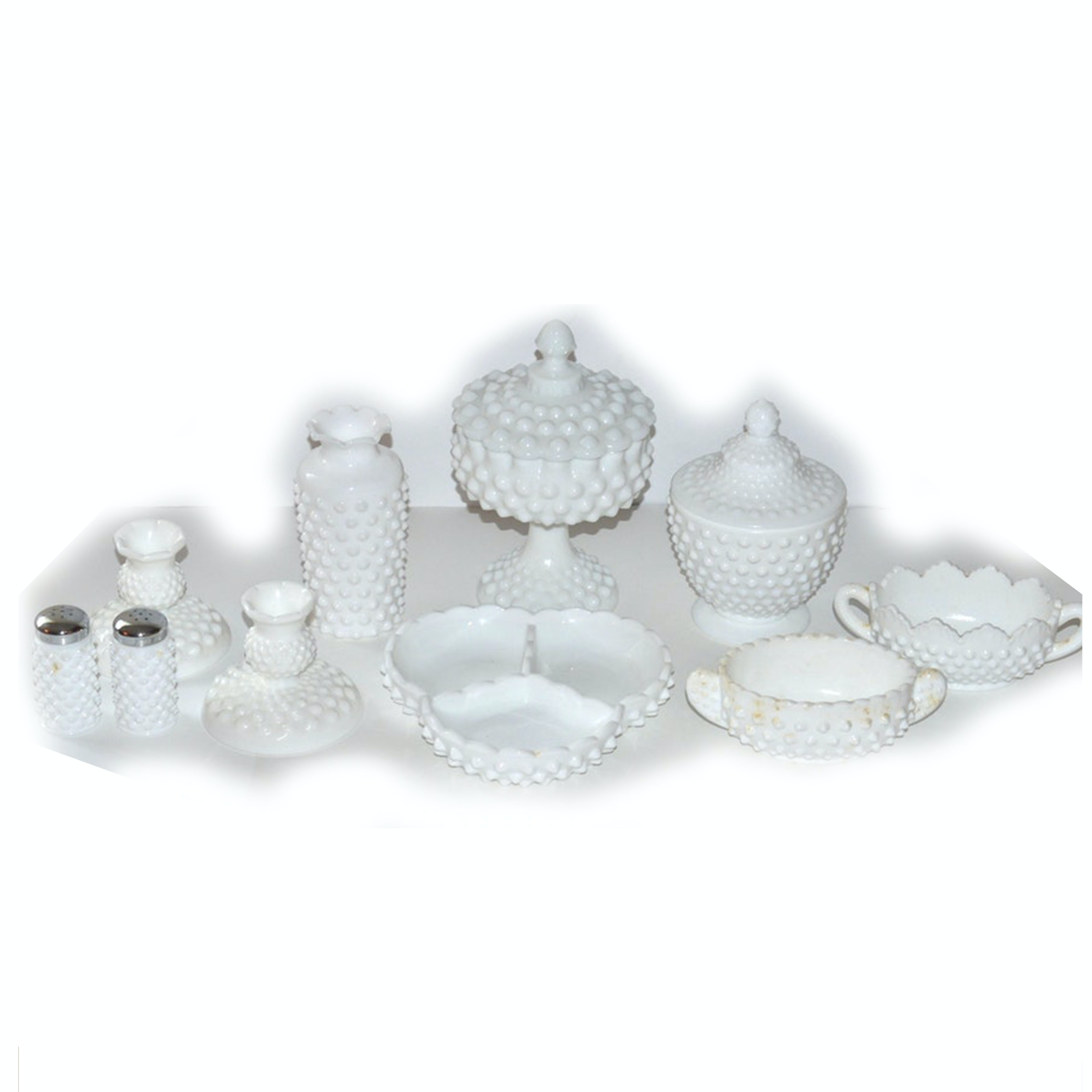 Fenton Hobnail Milk Glass Dishes and Tableware