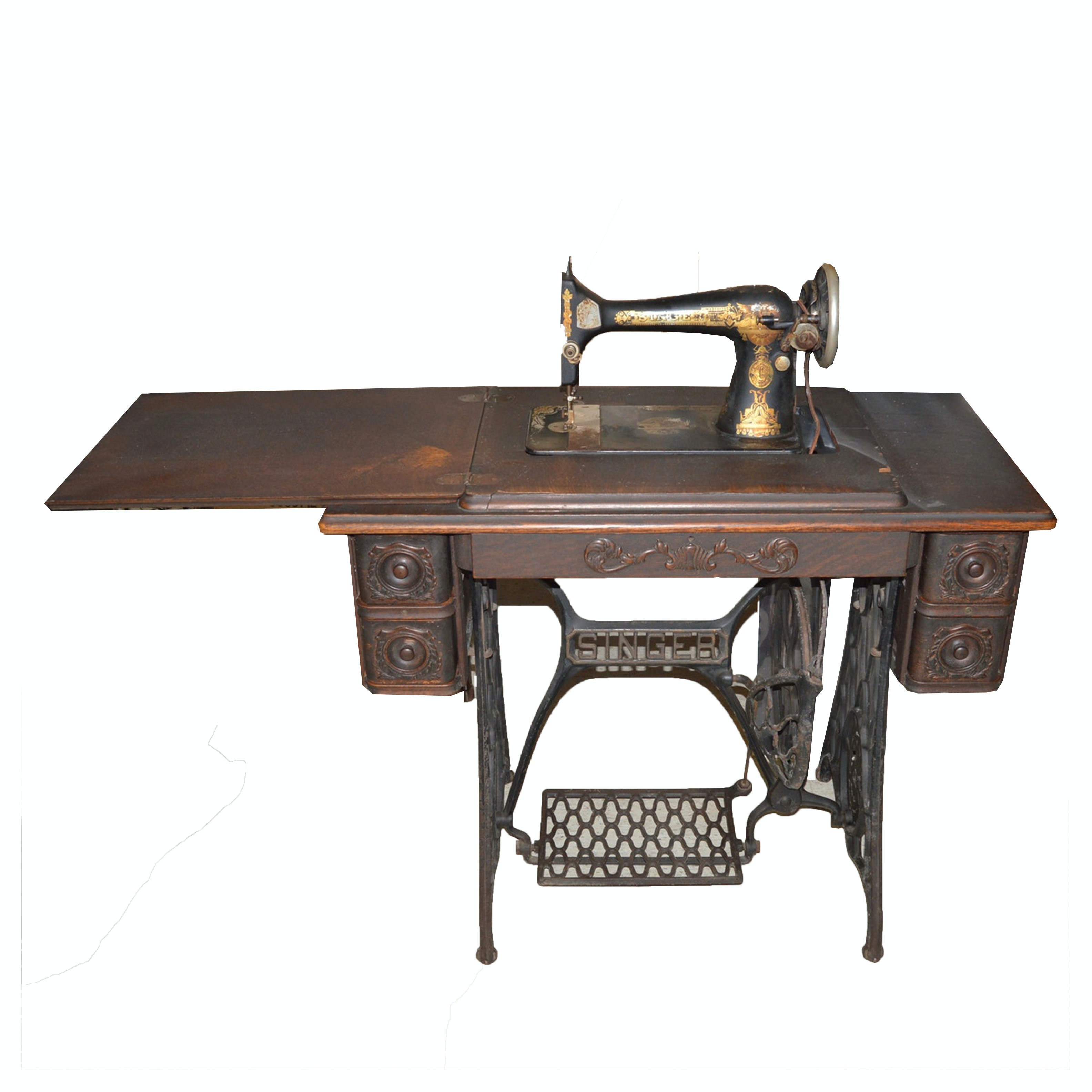 Antique Singer Sewing Machine and Table, Circa 1914