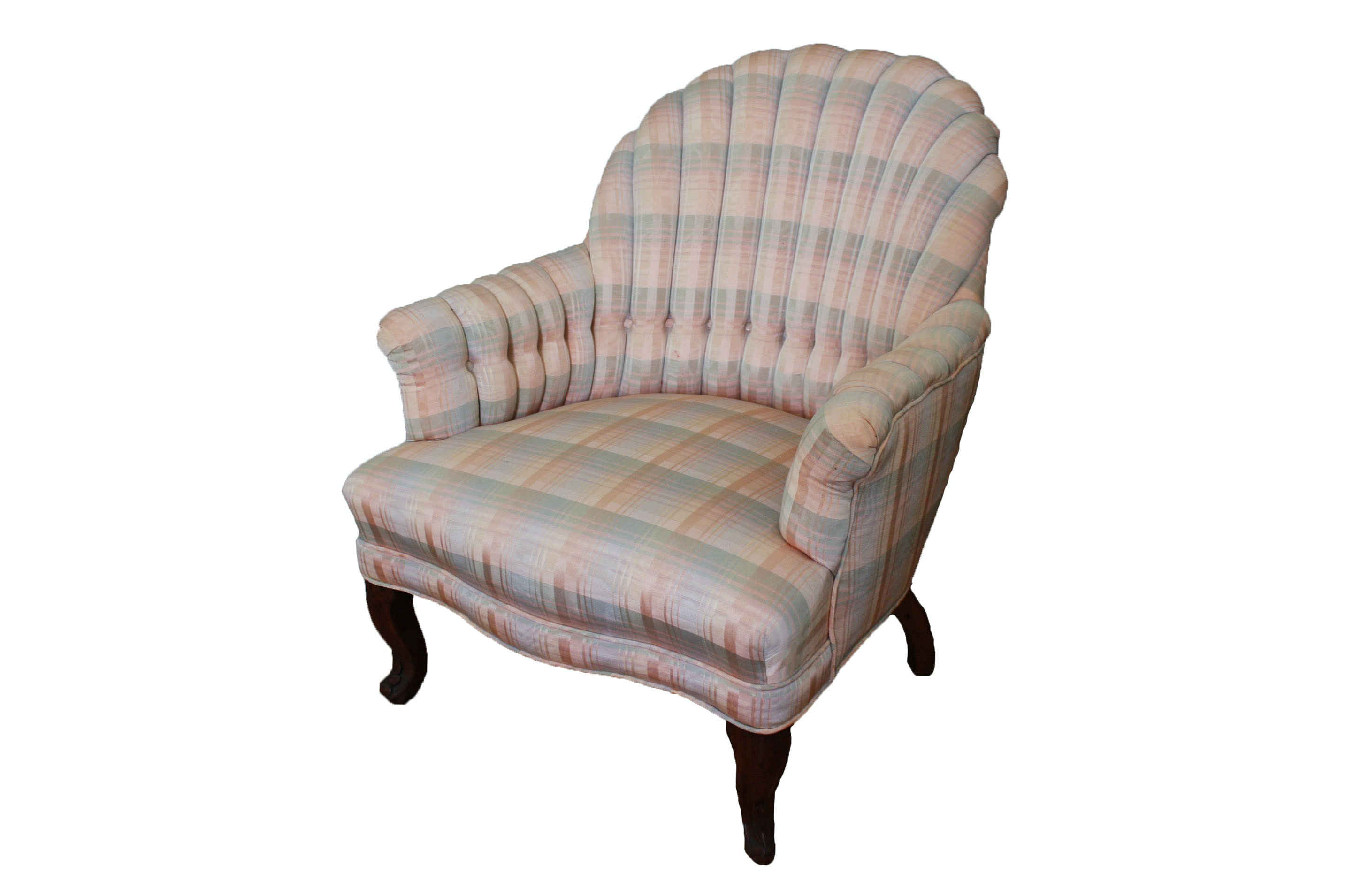 Vintage Queen Anne Style Upholstered Shellback Armchair