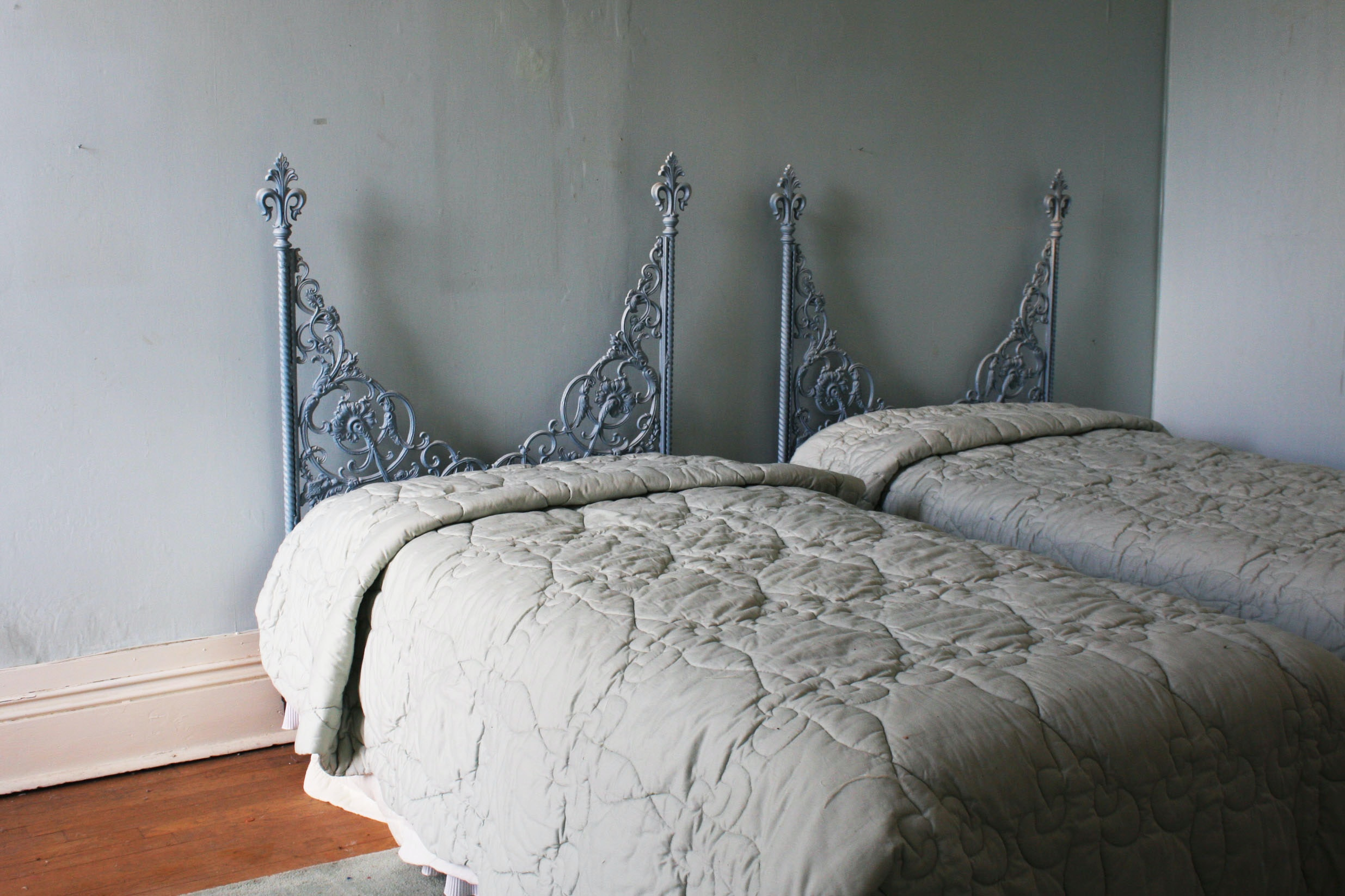 Pair of Blue Metal Twin Beds