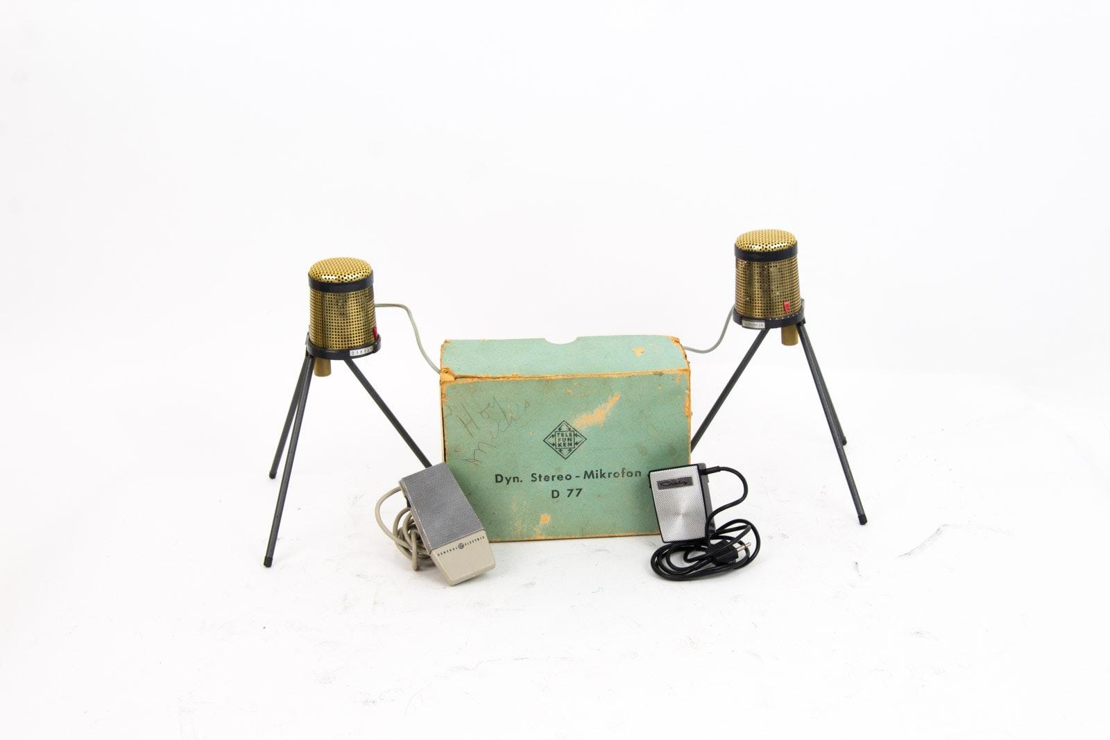 Pair of Vintage Telefunken D-77 Dynamic Stereo Microphones