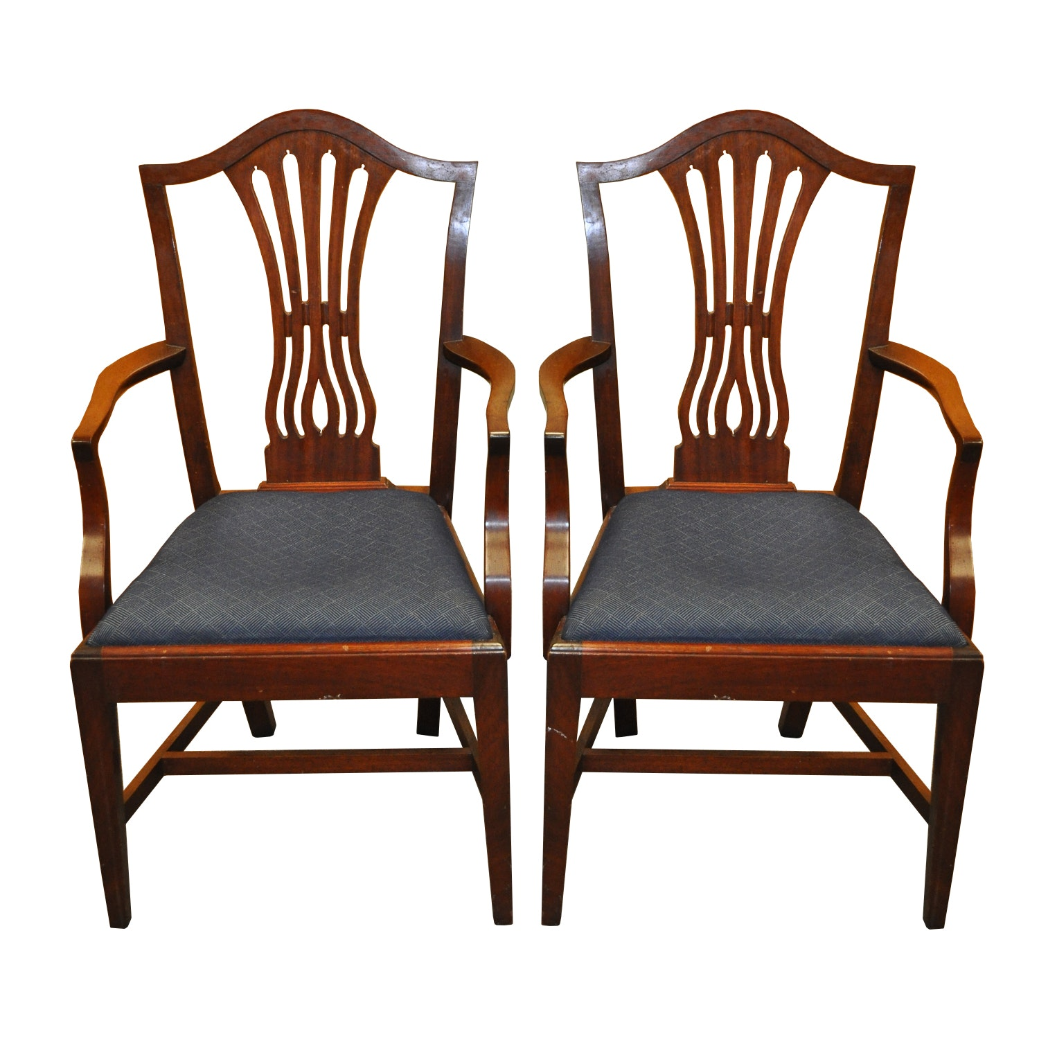 Pair Of Potthast Brothers Hepplewhite Style Dining Armchairs ...