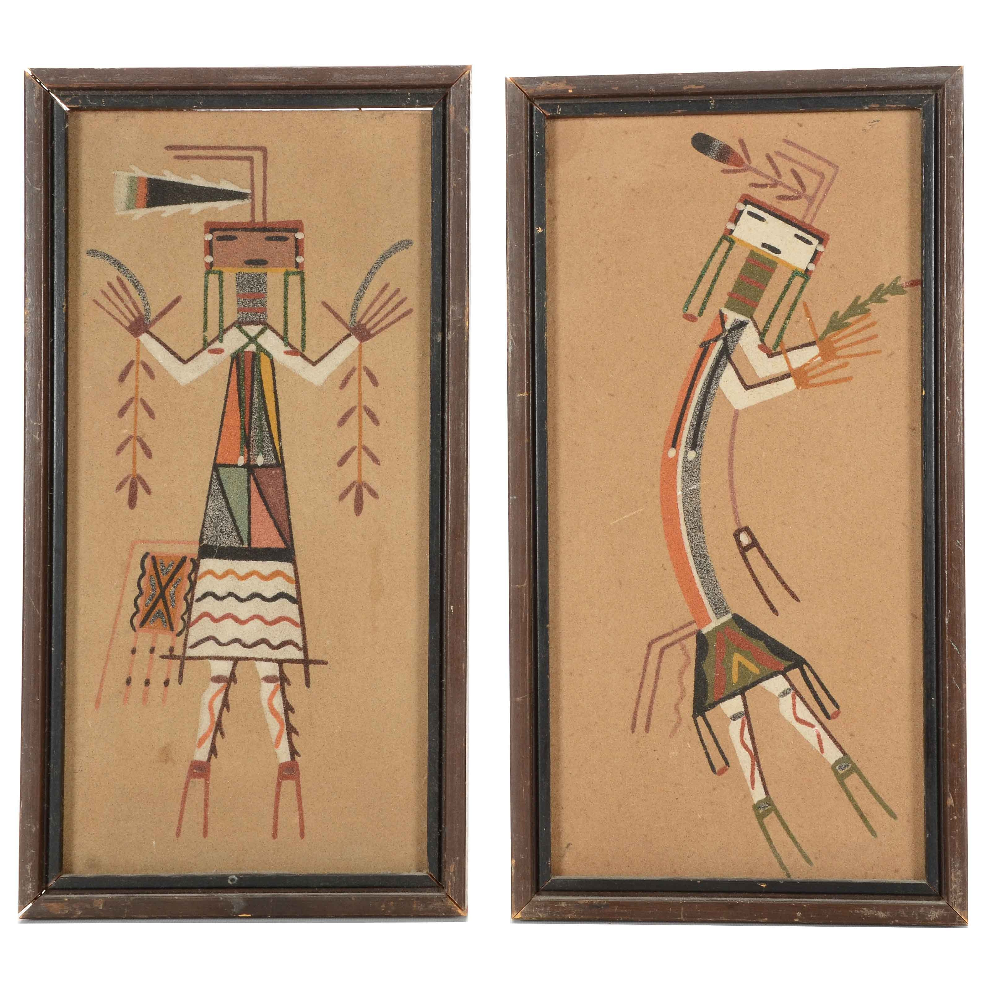 Two Navajo Style Sand Paintings on Board Attributed to Elise Y. Watchman