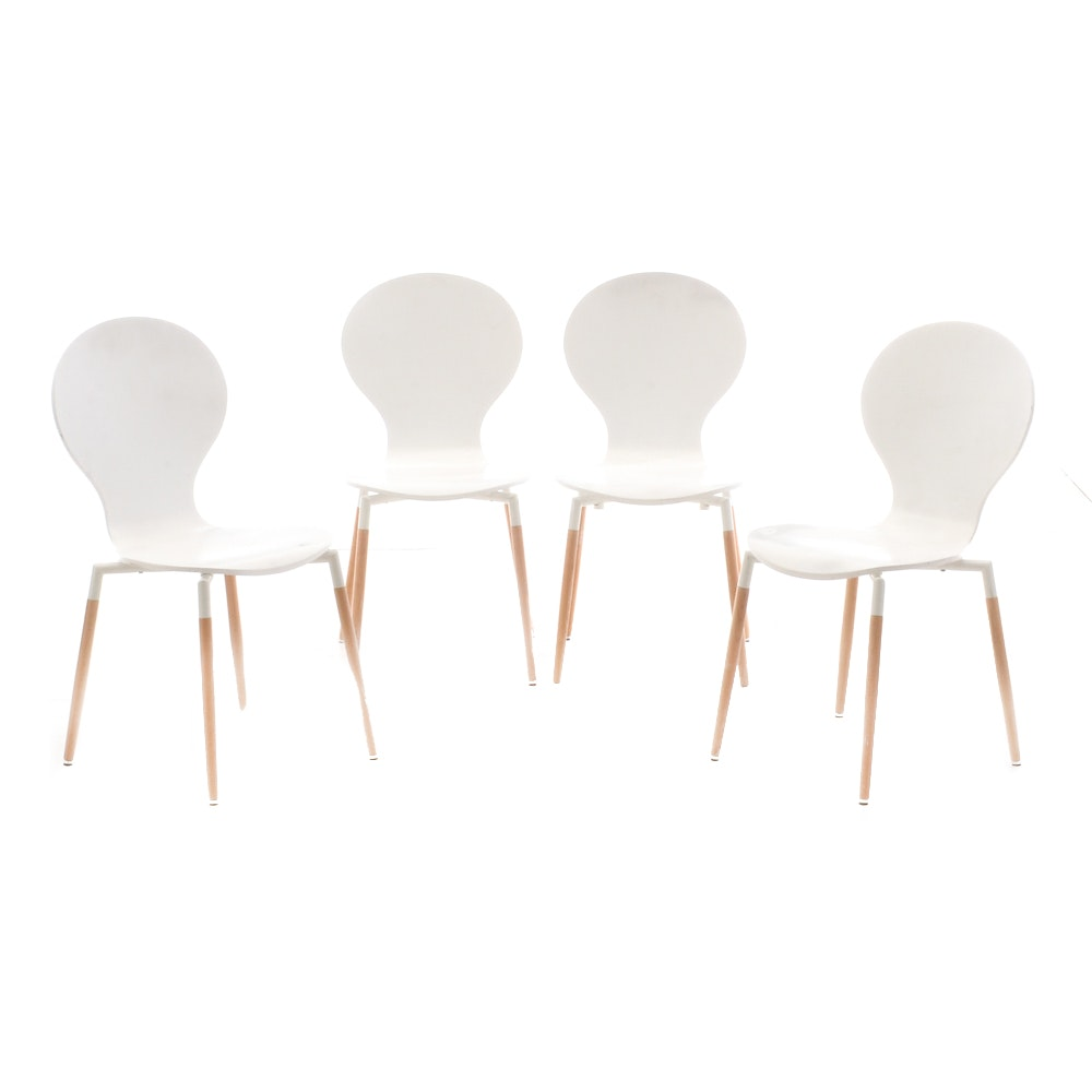 "Set of Modway ""Path"" Dining Chairs in White"