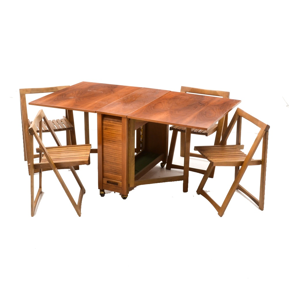 Mid Century Modern Romanian Folding Drop Leaf Table And Chairs ...