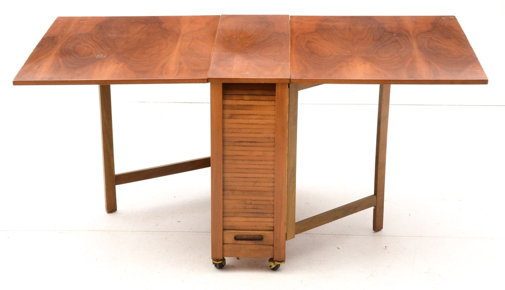 mid century modern folding drop leaf table and