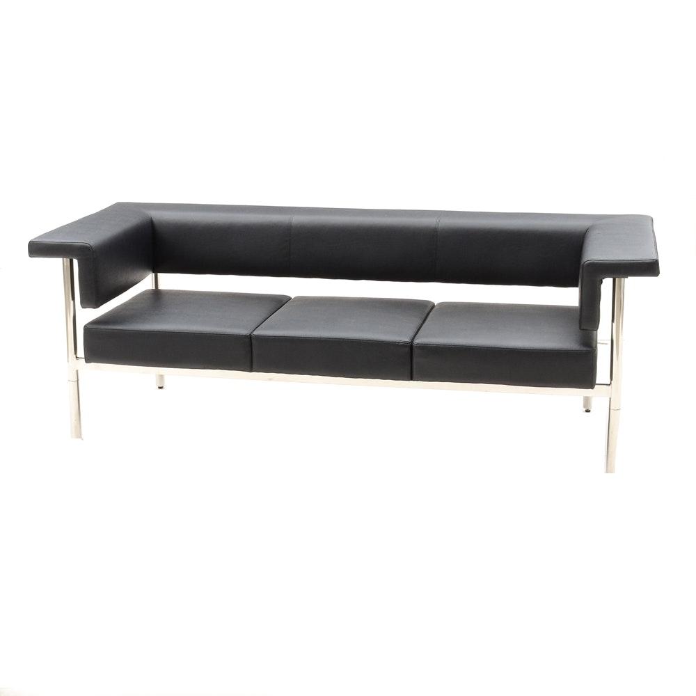 Black Vinyl Modern Sofa